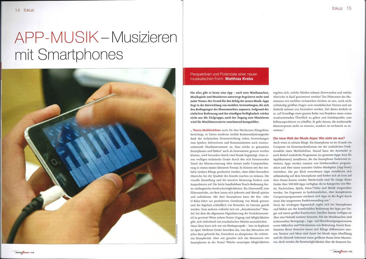 App-Musik: Musizieren mit Smartphones | MusikForum 01/2012